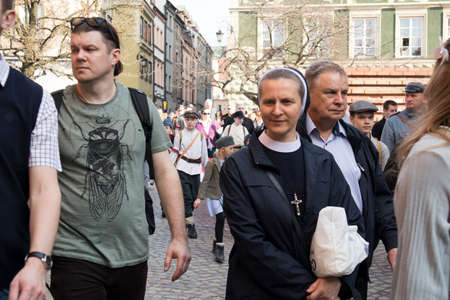 WARSAW, POLAND - April 08, 2018 People on the central street of Warsaw