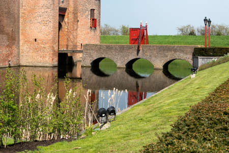 Muiden , Holland - 14 April 2018 The castle Muiderslot in the village Muiden near Amsterdam in Holland, the Netherlands, Europe Redactioneel