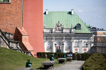 WARSAW, POLAND - APRIL 28, 2018: Copper-Roof Palace or Tin-Roofed Palace, Castle Square, Old Town, The first palace in Warsaw with a tin roof, rather than a tiled roof, branch of Royal Castle Museum