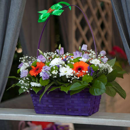 the Bouquet of chrysanthemums, gerberas, freesias, anemones and Gypsophila in a purple wicker basket for the bride