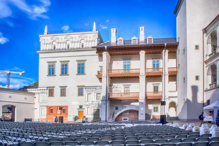 Vilnius, Lithuania - April 08, 2019: Palace of The Grand Dukes of Lithuania in Vilnius, Lithuania