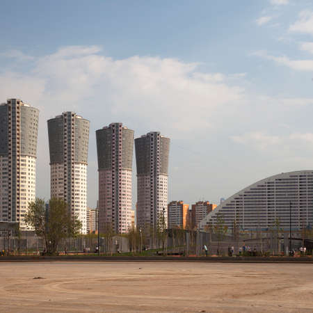 MOSCOW, RUSSIA - April 18, 2019: Khodynskoye field before reconstruction. A fragment of the shopping entertainment center Aviapark, housing estates Liner and Grand-Park, Palace of sport Megasport Editorial
