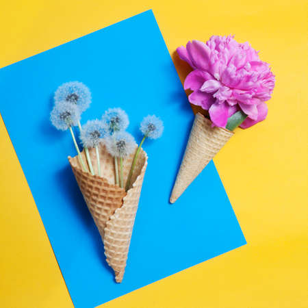 waffle cone with a big pink peony on a yellow background. Creative design for pastel wallpaper.