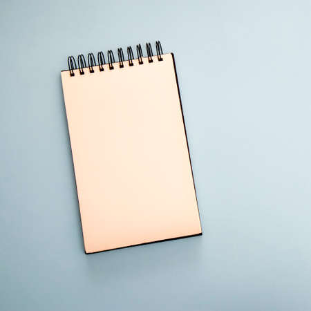 Notebook on springs lay on a blue background