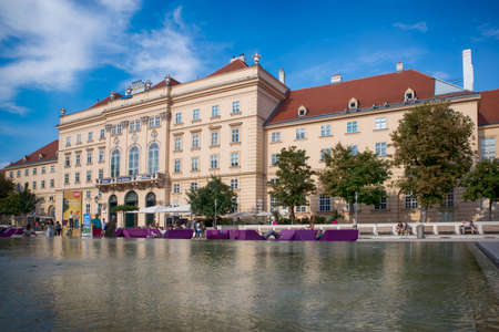 Vienna, Austria - September 17, 2019: Museumsquartier or MQ or Museums Quartier is area in centre. Museumsquartier is home to range of installations from large art museums. Viennese art pavilion 報道画像
