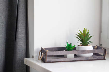 Artificial succulents in ceramic pots in a wooden box on the window as an interior decoration. Copy space Stock Photo - 137972301