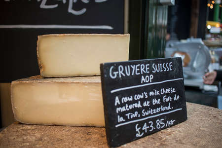 Gruyere cheese is generally known as one of the finest cheeses for baking, having a distinctive but not overpowering taste. For sale at farmer market