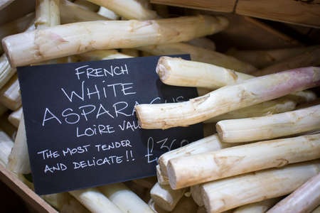 The french white asparagus for sale at the farmer market Reklamní fotografie