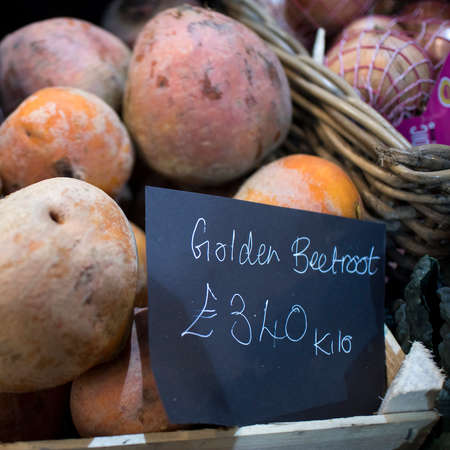 The fresh golden beetroots for sale at the farmer market