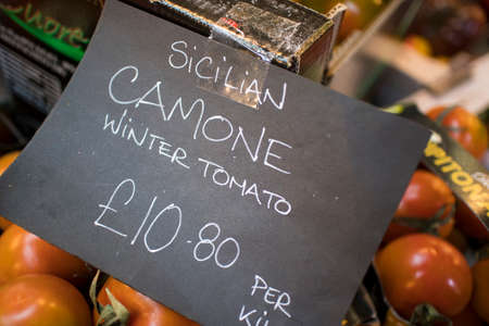 sicilian camone winter tomato for sale on a farmers market stall