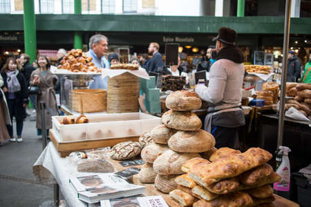 London, UK - 12 March 2020 Selling bread at Borough Market