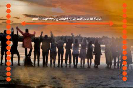White text is on a blurred photo with unrecognizable peopleon the river bank in sunset. Social distancing could save millions of lives. Covid-19 virus outbreak. protection and safety concepts