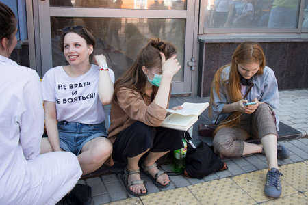 Moscow, Russia - 26.06.2020, People gathered outside court behind police barriers. Film director, Kirill Serebrennikov, was convicted. The inscription on the T-shirt - do not lie and do not be afraid