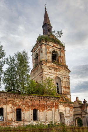 Vereteya village, Breitovsky district, Yaroslavl region, Russia, July 26, 2020, the destroyed Temples of Elijah the Prophet and the Protection of the Holy Virgin near an abandoned cemetery.