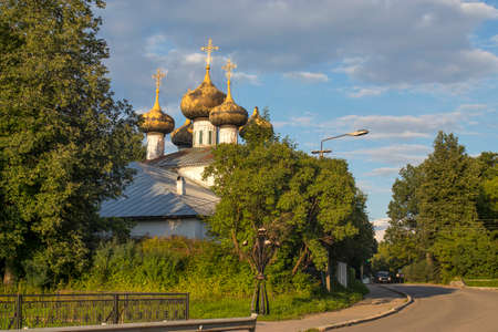 Ustyuzhna, Vologda region, Russia - 27 July 2020, - 27 July 2020, Ustyuzhna, town and the administrative center of Ustyuzhensky District in Vologda Oblast, Russia, Cathedral of the Nativit