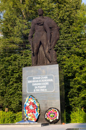 Ustyuzhna, Vologda region, Russia - 27 July 2020, - 27 July 2020, Monument to fellow countrymen Ustyuzhan who fell in the Second War. Monument to Soviet soldiers and heroes who won the war
