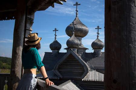 Shcheleyki, Leningrad Oblast, Russia, - August 12, 2020, Church Dmitry Mirotochivogo is unique monument of wooden architecture, universally recognized masterpiece of world architecture.