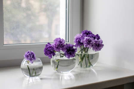 Bridal bouquets of lilac carnations in a four round glass vases different sizes as table decoration
