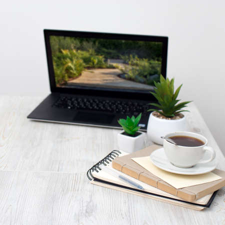 Office desk wood table of Business work place, notebook, artificial plant and coffee cup with copy space.