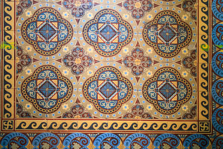 Samples of the famous Metlakh tiles, popular more than a hundred years ago. Pattern Stock Photo