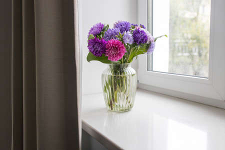 bouquet of colorful asters are on a windowsill near window