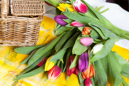 A bouquet of multi-colored tulips lies on the table against the background of a wicker basket of willow twigs Фото со стока