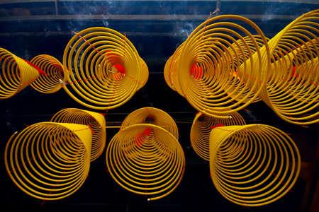 joss: Circular Joss Sticks in Macau Stock Photo
