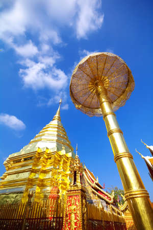 Wat Phra That Doi Suthep, Chiang Mai, Thailand with a Clear Blue Sky  photo