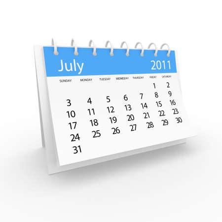 duration: 2011 july calendar  Stock Photo