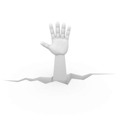 3d human hand coming from a crevice