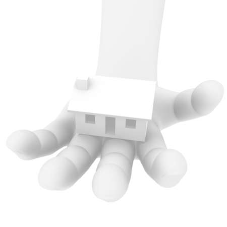 3d human hand with a house Stock Photo