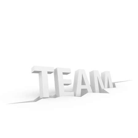 Team 3D text sliding into a crevice