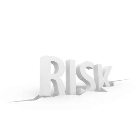 Risk 3D text sliding into a crevice