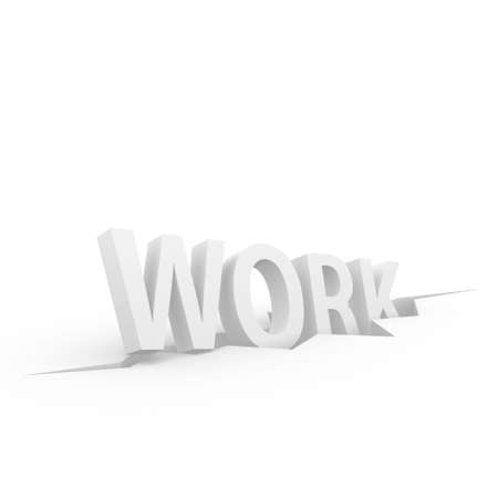 Work 3D text sliding into a crevice  Stock Photo