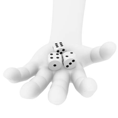 Dices in a human hand