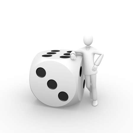 Man against a giant dice