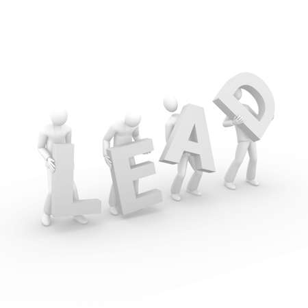 3D men holding the word Lead Stock Photo