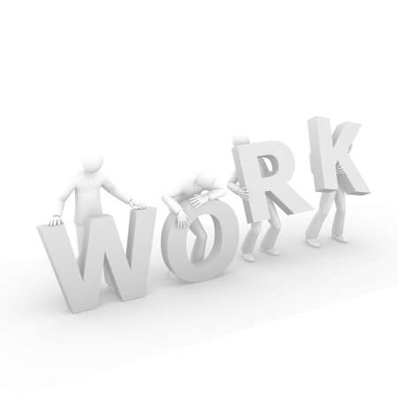 3D men holding the word Work Stock Photo - 8165627