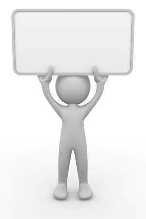 3D man holding a blank board Stock Photo