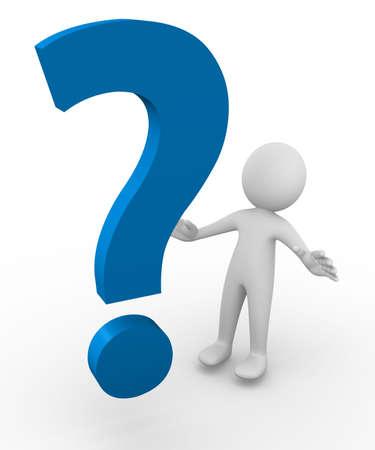 point d interrogation: Anonyme 3d man debout devant un point d'interrogation �norme