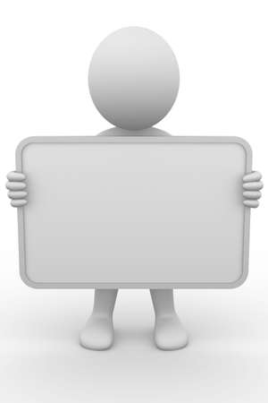 advertise: Anonymous 3d man holding a blank board