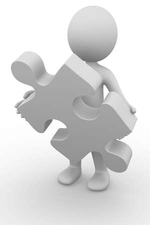 Anonymous 3D Man holding a puzzle piece Stock Photo