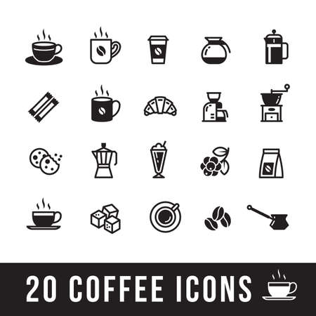 set of coffee icons for cafe Çizim