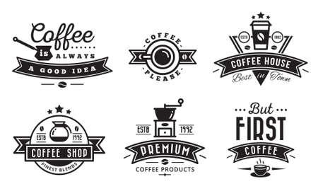 coffee logo badges and labels for cafe Ilustração