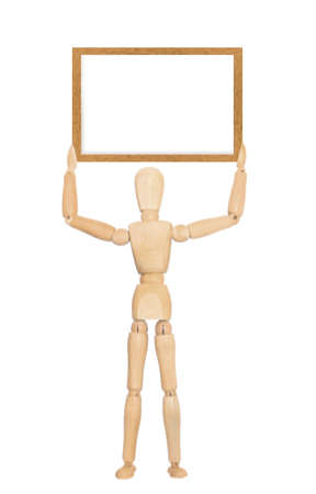 Wooden mannequin holding blank board
