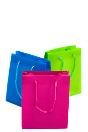 Three color shopping bags isolated background