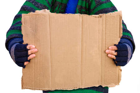 Homeless person,solated on white background, holding a brown blank board for wording