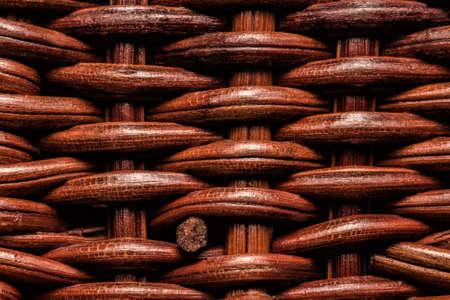 Macro shot of weaves in wicker basket
