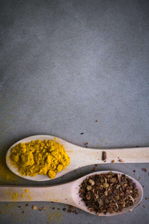 Curry spices arranged on wooden spoons with a paper background for a recipe or wording