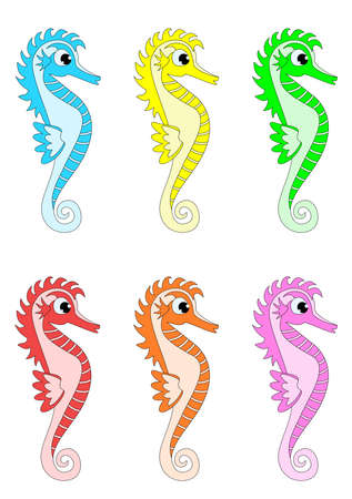 Vectors of Seahorses in different colors